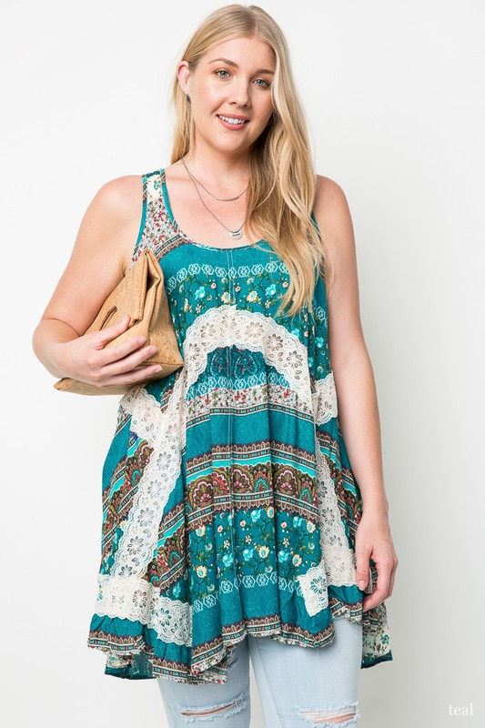 Plus Size True Colors Sleeveless Top - Turquoise