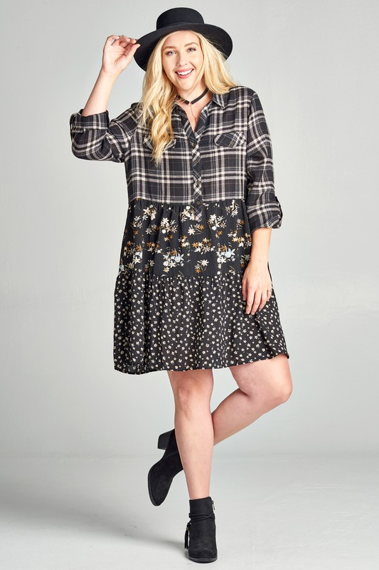 Plus Size Mix and Match Shirt Dress