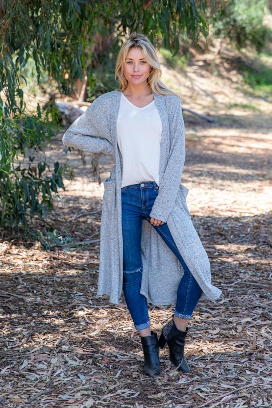 Knit Duster Cardigan - Heather Grey