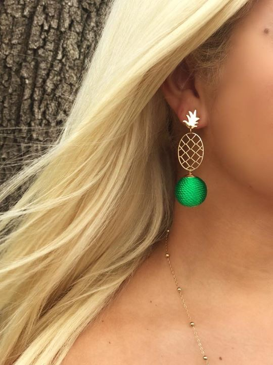 Pineapple Bauble Earrings - Kelly Green