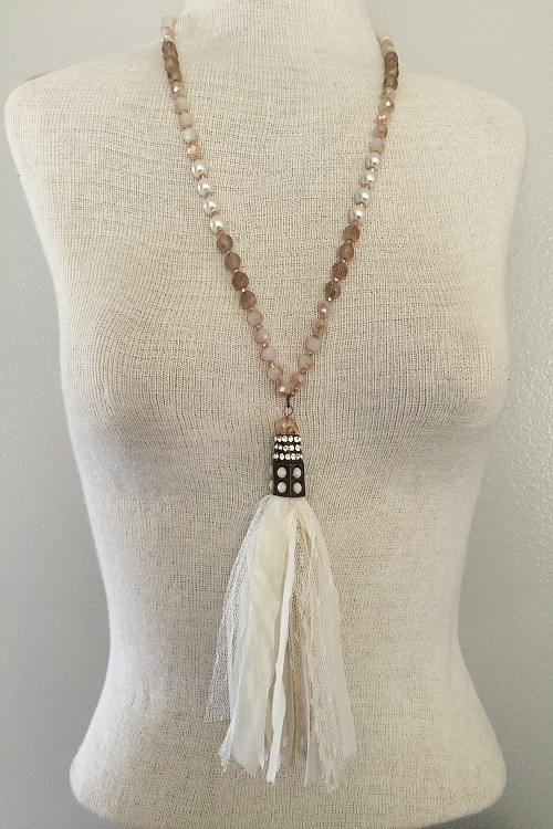 Lovely Beaded Necklace with Lace Fabric Tassel