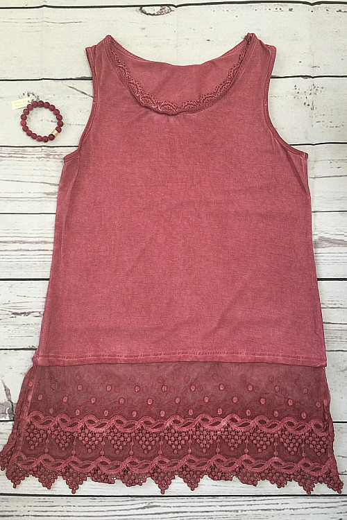 Sleeveless Lace Top Extender - Raspberry
