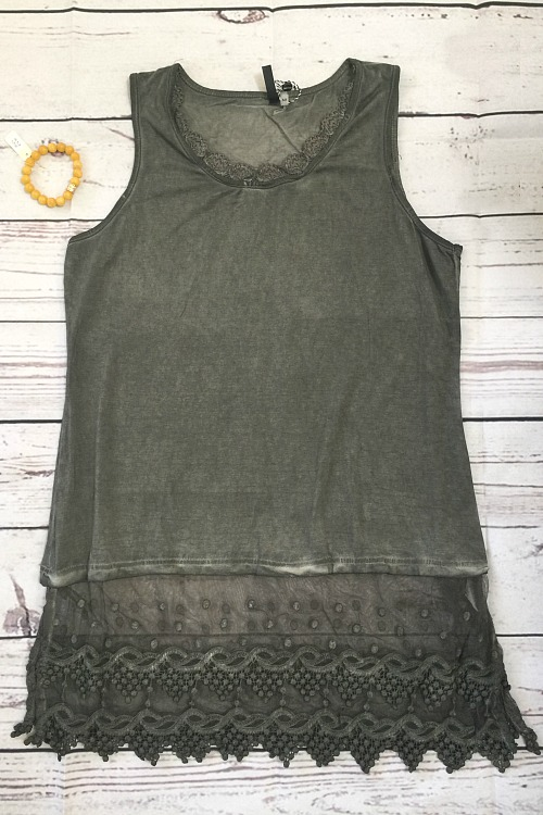 Sleeveless Lace Top Extender - Olive
