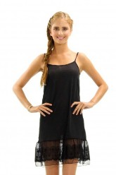 Circle Lace Dress Extender Slip - Black
