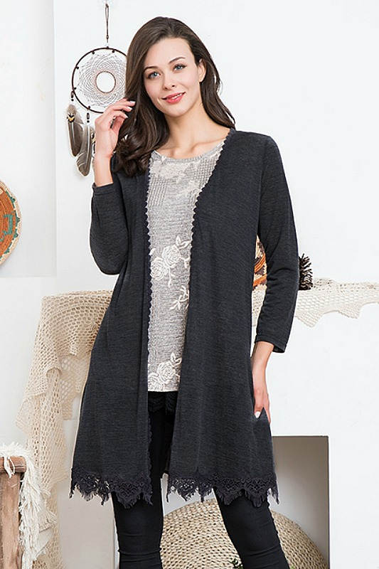 Paisley Vine Black Cardigan With Lace
