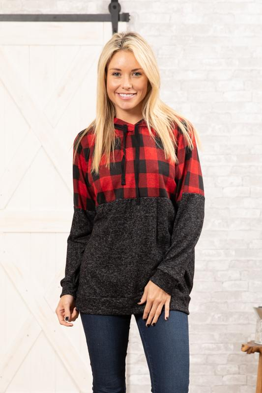 Checking You Out Plaid Colorblock Hoodie
