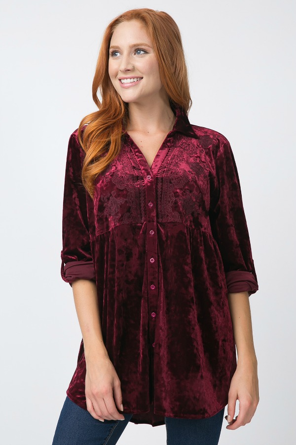 Plus Size Velvet Tunic With Floral Embroidery - Wine