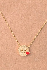 Kissy Face Emoji Necklace - Gold