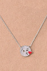 Kissy Face Emoji Necklace - Silver