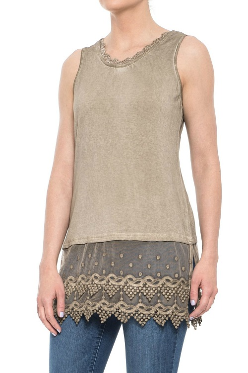 Sleeveless Lace Top Extender - Natural