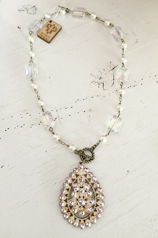 Pink Panache Crackle Wood Teardrop Necklace With Crystals