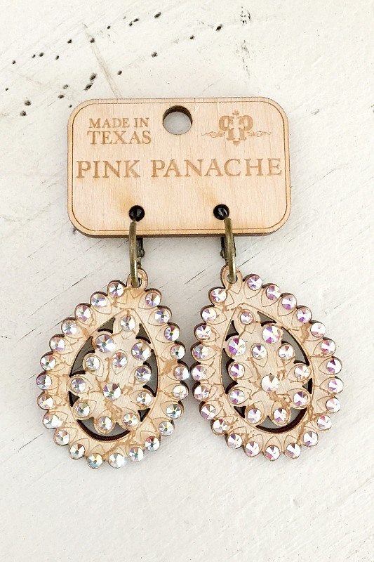 Pink Panache Crackle Wood Teardrop Earrings With Crystals