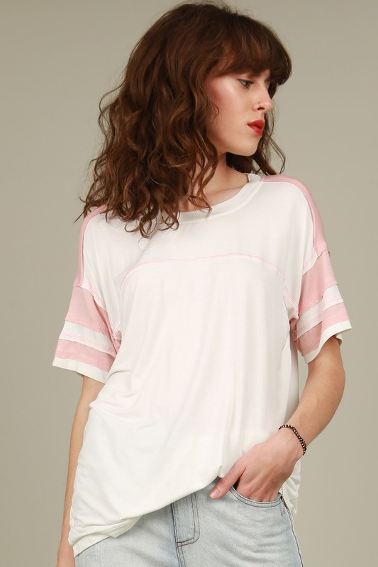 91 Colorblock Tee - Ivory/Pink