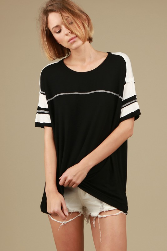 91 Colorblock Tee - Black