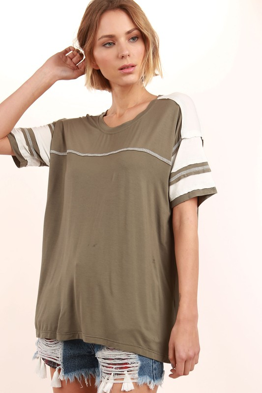91 Colorblock Tee - Olive