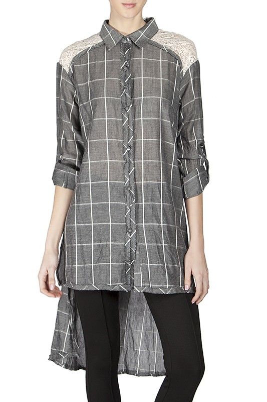 Windowpane Hi-Lo Shirt