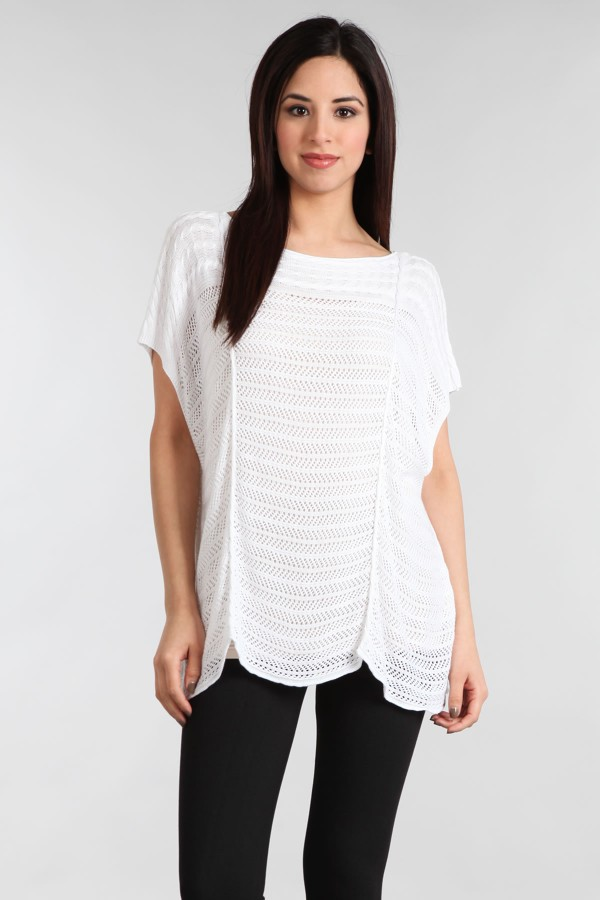 M. Rena Boat Neck Pointelle Top - White