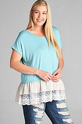 Plus Size Chiffon and Ruffles Top - Aqua Blue