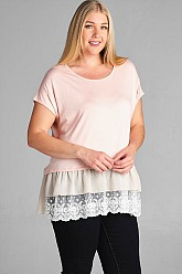 Plus Size Chiffon and Ruffles Top -Blush