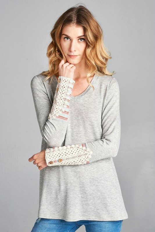 Candy French Terry Top - Heather Grey