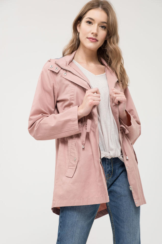 Utility Jacket With Adjustable Waist - Dusty Pink