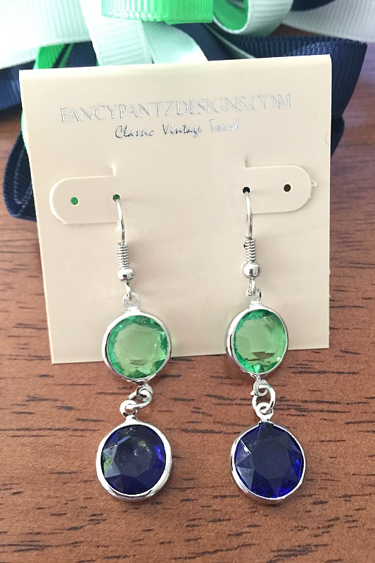 Navy and Green Circle Drop Earrings