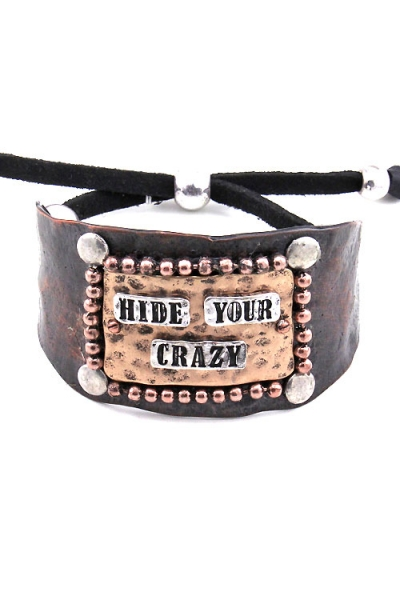 Hide Your Crazy Cuff Bracelet - Brown Patina