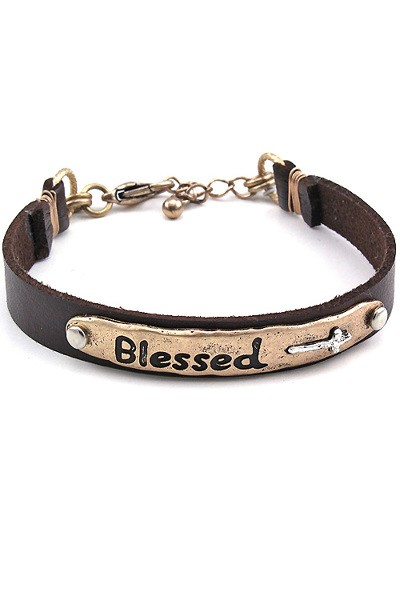Blessed Cuff Bracelet- Gold Tone