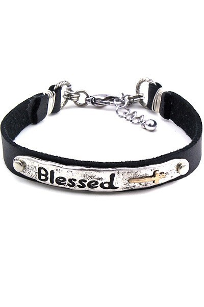 Blessed Cuff Bracelet- Silver Tone
