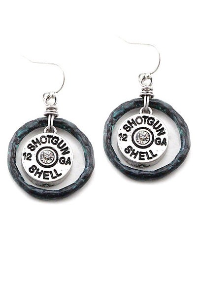 Shotgun Shell Earrings With Patina