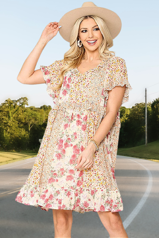 A Sweet Kiss Chiffon Floral Mix Print Dress
