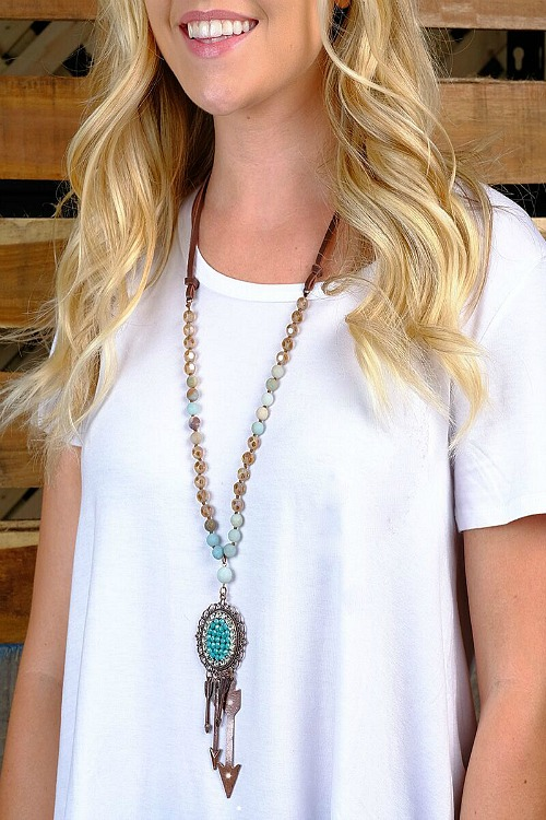 The Airy Beaded Turquoise Pendant with Arrows