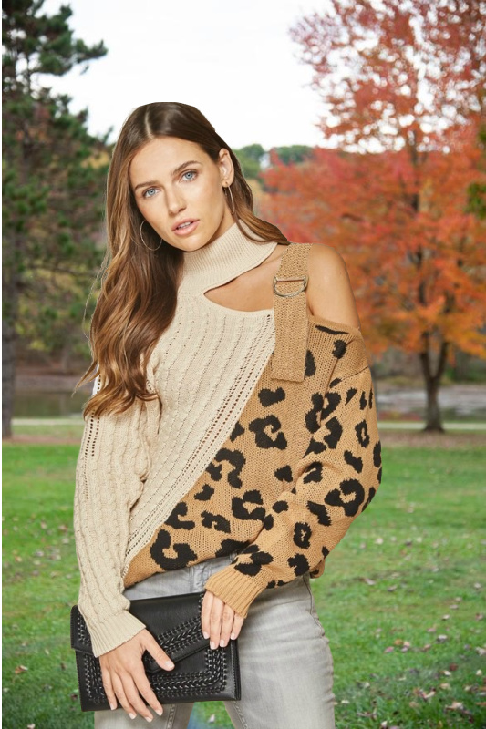 Chic Leopard Cold Shoulder Strap Sweater