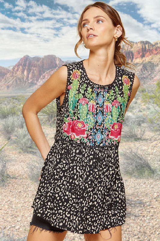 Cactus & Floral Embroidered Top by Savanna Jane
