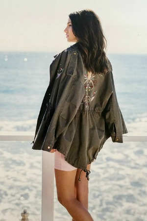 Military Style Jacket With Embroidery