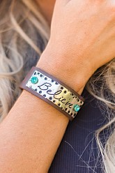 Leather Cuff Bracelet - Believe