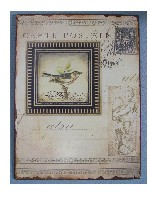 Wall Plaque -Bird Carte Postale-vintage inpired bird wall plaque