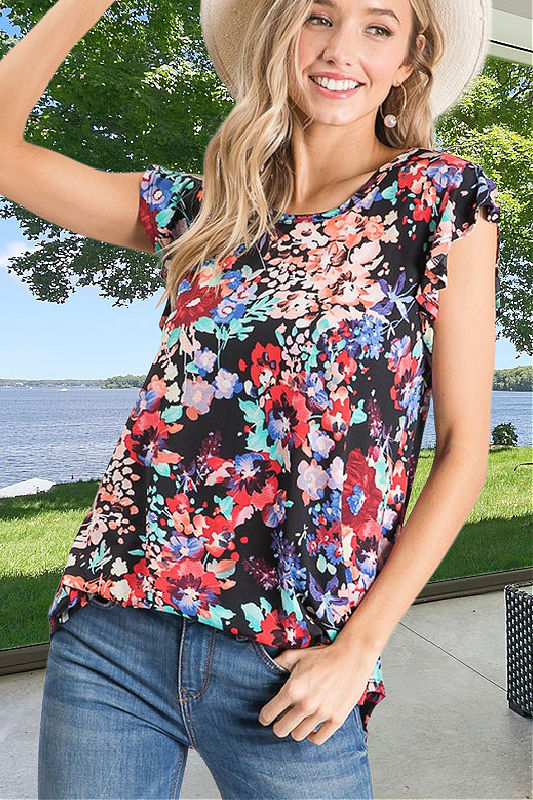 Black Floral Top With Ruffled Flutter Sleeves