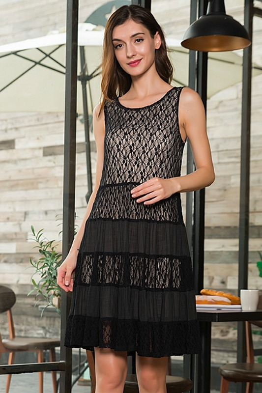 Garden Party Sleeveless Lace Dress - Black