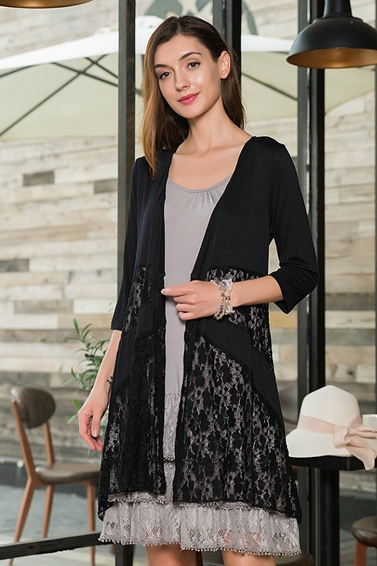 Sassy Bling Jersey Lace Cardigan - Black
