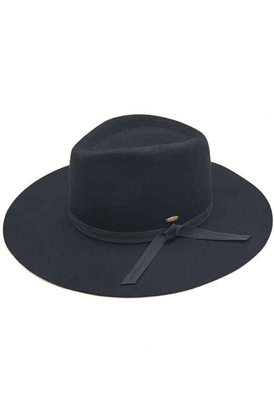 Wool Felt Panama Hat With Grosgrain Bow - Black