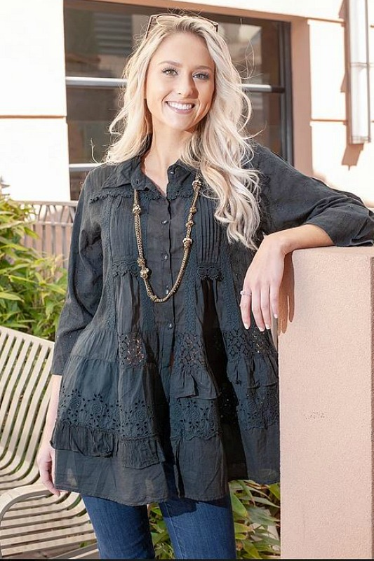 Black Patchwork Shirt by Paper Lace