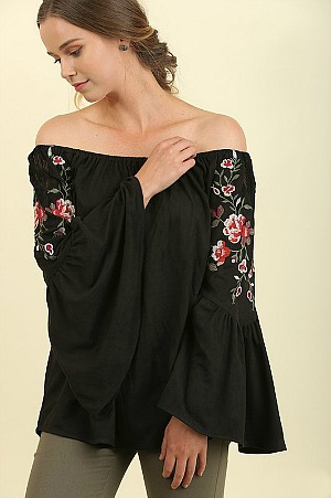 Boho Babe Embroidered Suede Top - Black