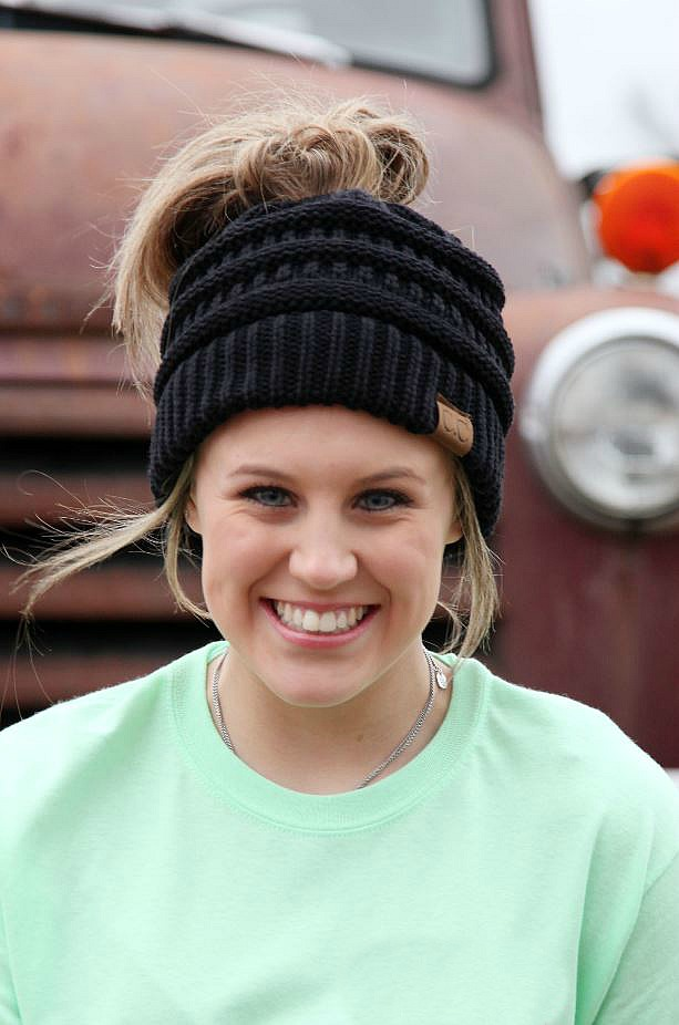 CC Beanie Solid Messy Bun Hat - Choose color