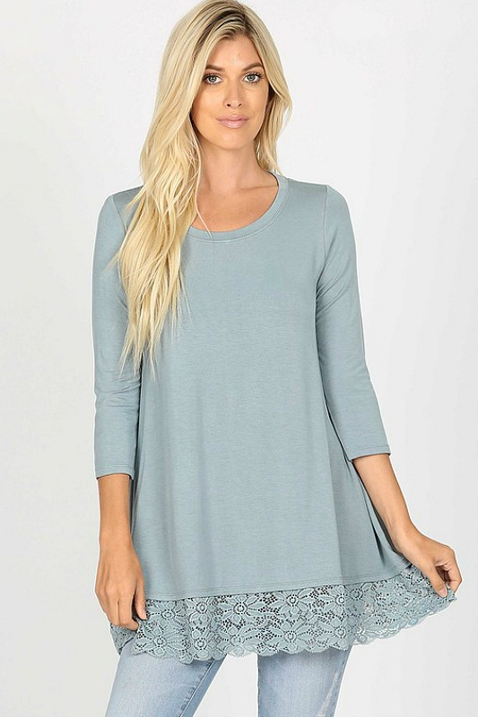 Round Neck Top With Lace - Blue Grey