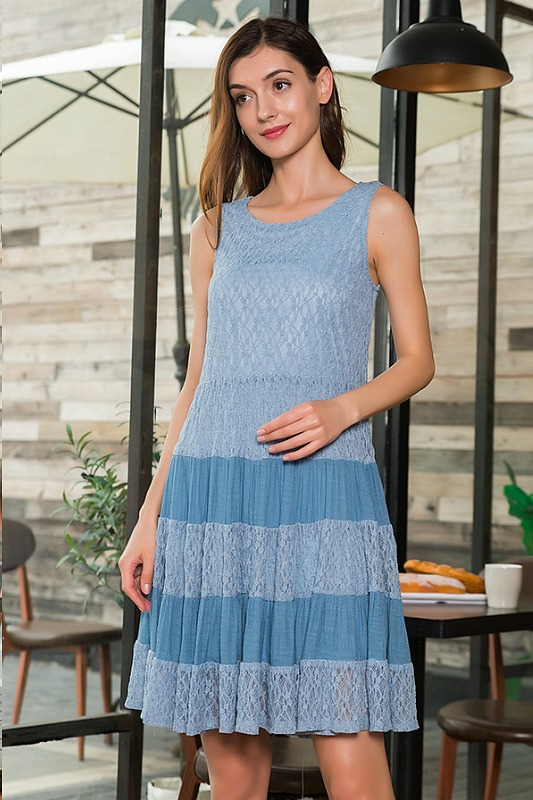 Garden Party Sleeveless Lace Dress - Blue