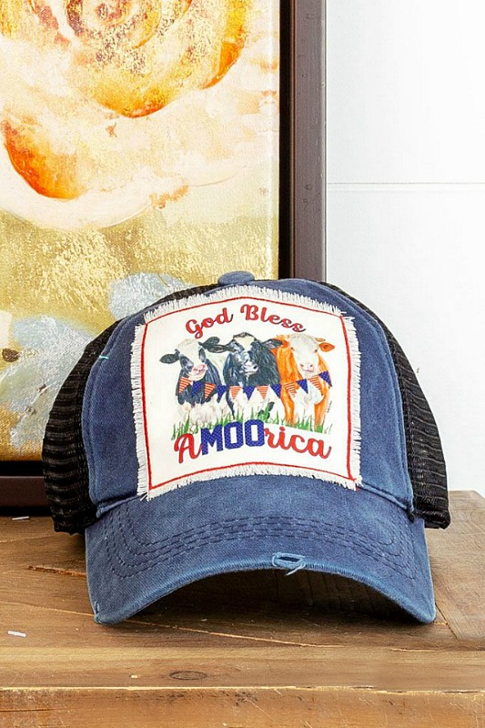 God Bless A-MOO-Rica Baseball Hat - Blue