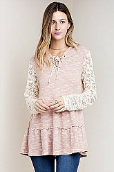 Romantic Lace Sleeved Hoodie - Blush