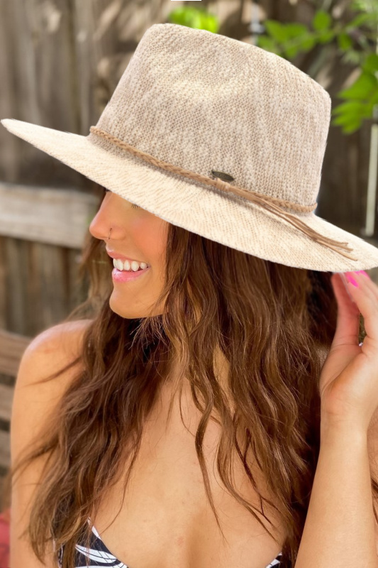 Knit Boucle Panama Hat with Suede Braided Cord - Beige