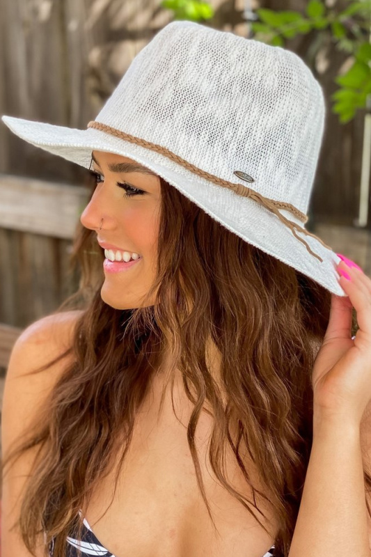 Knit Boucle Panama Hat with Suede Braided Cord - Ivory